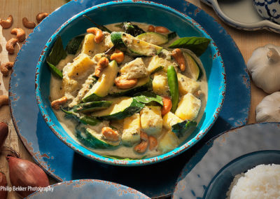 GREEN CURRY OF ZUCHINI SQUASH WITH PINEAPPLE AND THAI BASIL